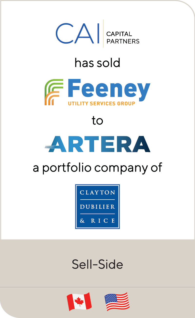 CAI Capital Partners Feeney Brothers Utility Services Artera Services Clayton Dubilier Rice 2021