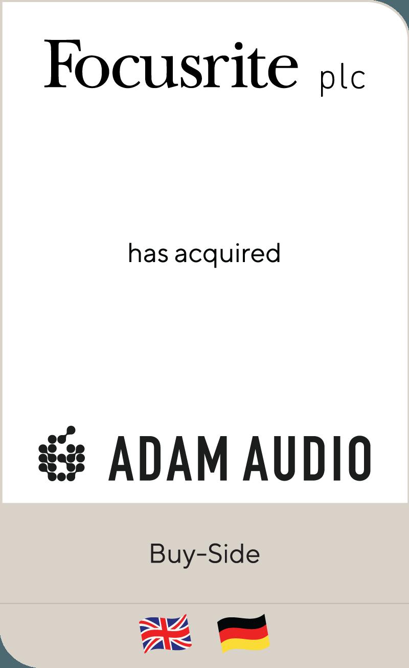 Focusrite plc has acquired Pro Audio GmbH including ADAM Audio GmbH